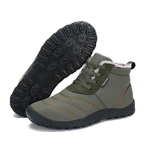 Herren Damen Stiefeletten Warm Gefüttert Winterschuhe Schneestiefel Schnür Rutschfest Kurz Stiefel Outdoor Freizeit Schuhe GI2sX