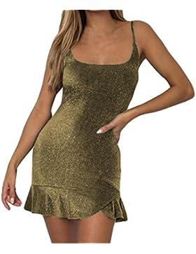 Vestido sexy para mujer – Saihui sin mangas, ajustado, lentejuelas brillantes, fiesta de noche, bodycon mini vestidos...
