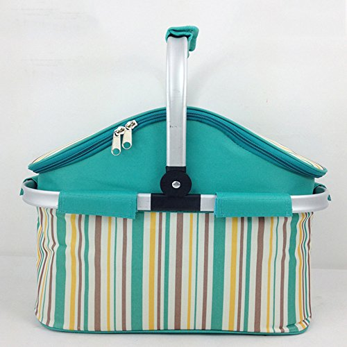 Lpan Outdoor picnic borsa termica cesto pieghevole portatile Autumn Outing barbecue da tavola bag, Green stripe red stripe