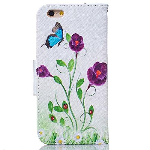 YAKING® Apple iPhone 6/6S Coque, PU Portefeuille Étui Coque Stand Flip Housse Couvrir impression Case Cover pour Apple iPhone 6/6S P-3