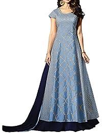 Salwar Soul Women's Silk Semi Stitch Salwar Suit (Salwar_SSER11264_Sky Blue_Free Size)