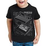 style3 VCS 2600 Videoconsola Fotocalco Azul Camiseta para Niños T-Shirt Classic Gamer, Color:Nero;Talla:140
