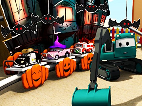 Construction Squad builds a Ghost Train for Halloween and a Racing Track for the Babies (Halloween Town Cartoon)