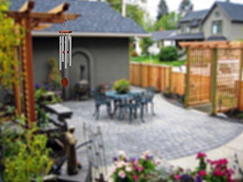 Klangspiel, Windspiel, 60cmmitS-Haken,AluminiumundHolzfürGarten - 5