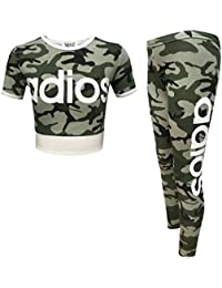379a159cec0 Minx Kids Tracksuit Adios Camouflage Printed Crop Top T Shirt   Jogging  Bottom Legging Set