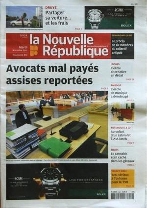 NOUVELLE REPUBLIQUE (LA) [No 20355] du 04/10/2011 - AVOCATS MAL PAYES ASSISES REPORTEES POUR UN BRAQUAGE A TOURS-NORD EN 2007 - LE CANNABIS ETAIT CACHE DANS LES GATEAUX - LES SPORTS / VOLLEY - LOCHES / L'ECOLE ALTERNATIVE EN DEBAT - par Collectif
