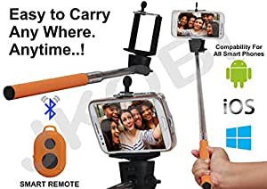 Selfie Stick Monopod With Bluetooth Remote Wireless Shutter Connectivity Compatible For Micromax Canvas Juice A77 / A177 -Dark Orange