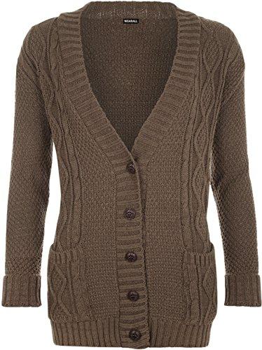 WearAll - Cardigan irlandais à manches longues avec les boutons - Cardigans - Femmes - Taille 36 à 42 Moka