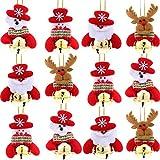 Pangda 12 Pezzi Decorazioni delle Campane di Natale per la Casa Albero di Natale Ornamenti Pupazzo di Neve Santa Orso e Renne per la Vostra Decorazione Festival