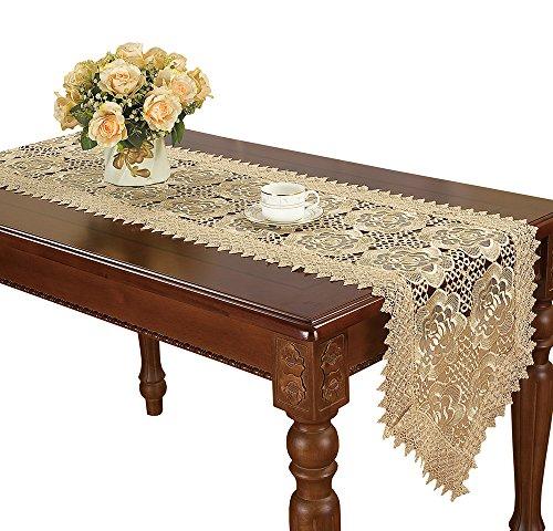 Simhomsen Custom Beige Spitze Tischläufer Bestickt Rose Blume transluzent Gaze, beige, 16 * 132 Inch -