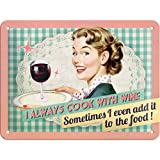 Nostalgic-Art 26100 Say it 50's - Cook With Wine, Blechschild 15x20 cm