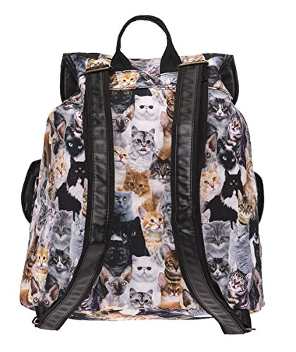 Kukubird Double Pocket Book Bag Gatti Modello Vintage Zaino Zaino Cats Pattern