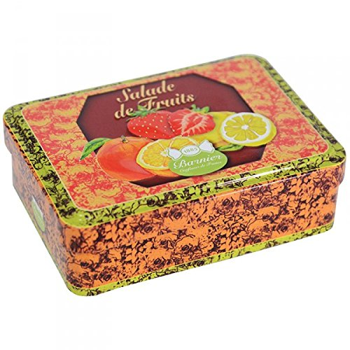 Boite fer très jolie avec relief contenant 150g bonbons SALADE DE FRUITS bonbons d'antan