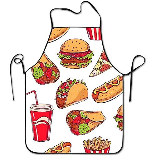 Cute Aprons Hot Dog Hamburger Pizza Slice Pattern Funny Cooking Apron for Men - BBQ Grill Kitchen Chef Barbecue Gifts, One Size Fits Most