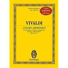 L'Estro Armonico: Concerti grossi. op. 3/1-12. 4 Violinen, 2 Violen, Violoncello, Violine und Cembalo. Studienpartitur. (Eulenburg Studienpartituren)
