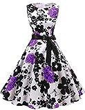 Gardenwed Damen 1950er Vintage Cocktailkleid Rockabilly Retro Schwingen Kleid Faltenrock White Lavender Flower M