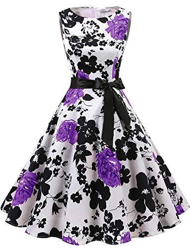Gardenwed Damen 1950er Vintage Cocktailkleid Rockabilly Retro Schwingen Kleid Faltenrock White Lavender Flower XS Kurzes Kleid Vintage Rock