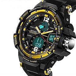 QBD digital-analog Jungen Mädchen Sport Digital Armbanduhr mit Alarm Stoppuhr Chronograph-50m Wasser Proof-GRATIS Luxus Geschenk-Box (G Gold)