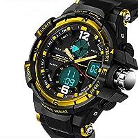 QBD digitale-analogico Boys Girls Sport orologio digitale con allarme, cronometro e cronografo, impermeabile fino a 50m, confezione regalo oro (G)