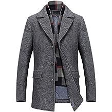 50bb5309c725 Mirecoo Herren warm Wollmantel Kurzmantel Winter Jacke Business