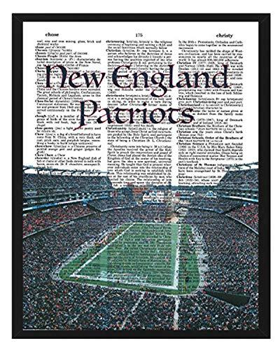 New England Patriots Foto Wörterbuch Kunstdruck Gillette Stadium Foto NFL Art Geschenk, für Ihn aus recycelten Wörterbuch Foto