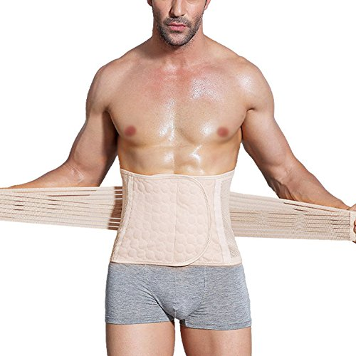 GUOCU Gym Fitness Elasticità Schlank Shapewear Slimming Belt Sport Bauch Taillenmieder Miedergürtel für Herren Invertierter Dreieckskörper Hautfarbe L