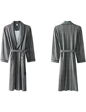 SUxian Gran Albornoz de algodón de los Hombres Albornoz de Manga Larga Bata de Dormir camisón Pijama con Pretina