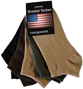 20 Paar USA Sneakers Sneakersocken Sneaker Socken für Damen Herren und Teenager | verschiedenen Farben zur Auswahl Größe 48/50 Farbe Schwarz/Braun/Beige/Oliv/Beige