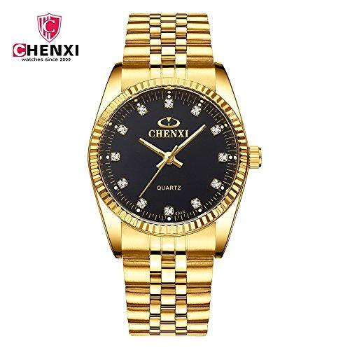 HWCOO Golduhr CHENXI Uhr Business Uhr Quarzuhr Paar Tisch 004A voll Gold IGP Damenuhren (Color : 1)