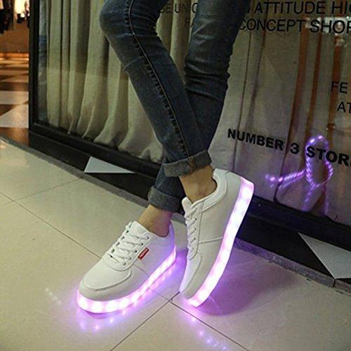 [Présents:petite serviette]JUNGLEST® de Couleur Mode Unisexe Homme Femme USB Charge LED Lumière Lumineux Clignotants Chaussures d Blanc