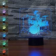 3D Tambor lámpara luz nocturna óptico Illusions 7 Cambio de color acrílico Tocar Tabla Lámpara de