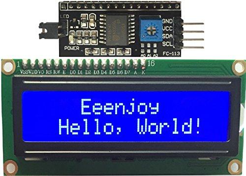 Preisvergleich Produktbild Eeenjoy I2C 1602 LCD Bildschirm Modul IIC/I2C/TWI serielle Schnittstelle 16x2 Zeichen LCD Display mit Blauer Hintergrundbeleuchtung Für Arduino und Raspberry Pi