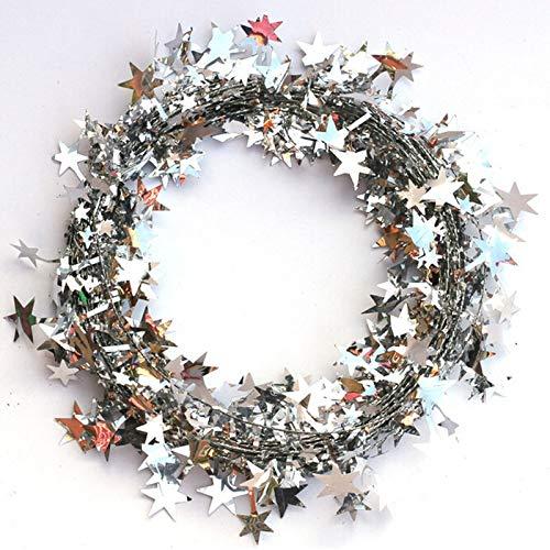 hnachtsbaum Hängen Sterne Kiefer Garland 5 Mt Weihnachtsdekoration Ornament Jahr Weihnachtsschmuck Für Zu Hause Großhandel, Silber ()