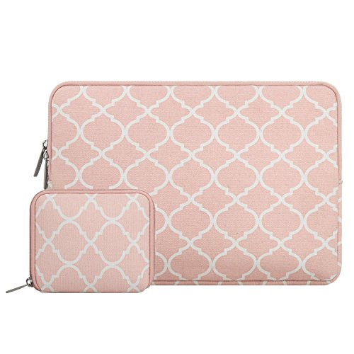MOSISO Tasche Sleeve Hülle Kompatibel 12,3 Zoll Microsoft Surface Pro 6/5/4/3, 11-11,6 Zoll MacBook Air, Ultrabook Tablet Canvas Geometrisches Muster Laptoptasche mit Klein Fall, Rosa Vierpass