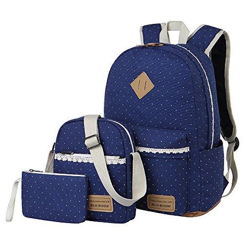 Imagen de  lona mujer  escolar casual para chicas backpack for girls 3pcs azul  alternativa