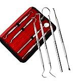 NAttnJf 4 piezas de dientes dentales que blanquean el raspador de la herramienta de limpieza con un kit de higiene bucal de espejo