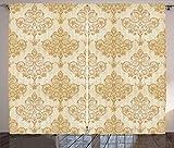 ABAKUHAUS Jahrgang Rustikaler Vorhang, Barocke Gebogene Blumen, Wohnzimmer Universalband Gardinen mit Schlaufen und Haken, 280 x 260 cm, Hellbraun Creme