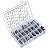 QLOUNI 500pcs Kit Surtido de Condensadores Electrolíticos 24 Values de 0.1UF - 1000UF