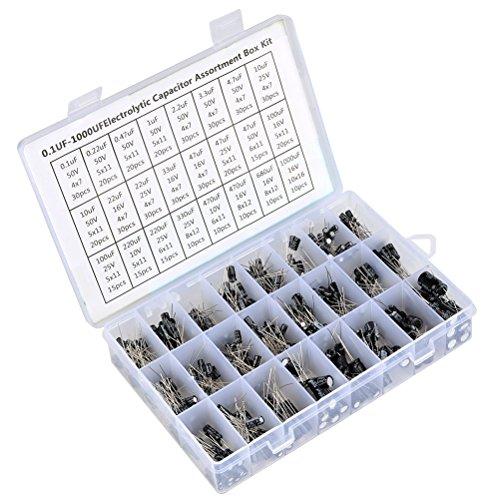 QLOUNI 500 Stücke Elektrolytkondensator 24 Wert Kondensatorkit 0.1UF - 1000UF Kondensator Sortimentskit (EC500PC -24)