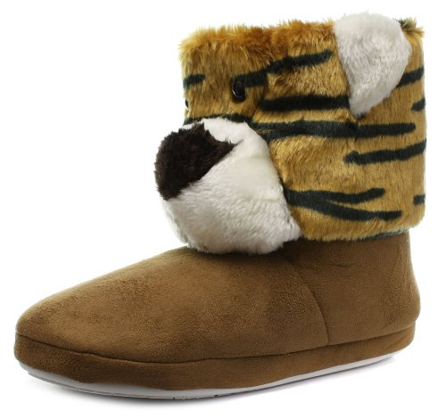 Barratts Womens Ladies Brown Tiger Face Bootee Slippers Size 7