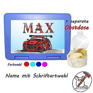 Kinder Brotdose mit Auto Motiv und Name/Lunchbox für Kinder mit Name/Rennauto/Farbwahl Brotbox + Schriftwahl für Name