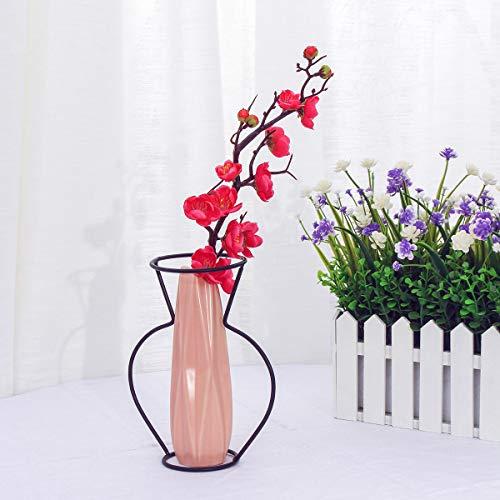 TuToy Creative Metal Wire Vase Black Flower Rack Abstract Geometric Frame Home Decor - #5