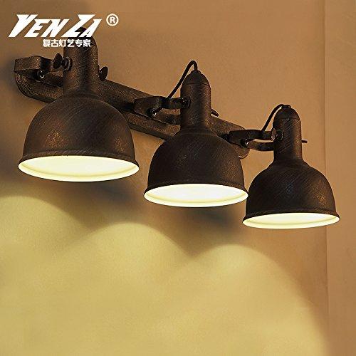 LIYAN minimalistische Wandleuchte Wandleuchte E26 /E373Loft Industrial Fans tun das alte kreative Persönlichkeit LED Schlafzimmer Bett Wandleuchten Wandleuchten, drei Kopf - Rost innen weiß ist. (Metal-fan Alte)
