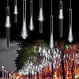 Topjoy 50CM 8 tubi Bercy doccia pioggia luci 240 LED stringa esterna impermeabile per Natale matrimonio partito albero decorativo (bianco)