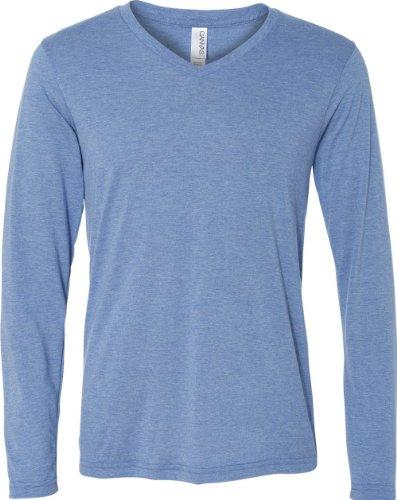 Bella+Canvas: Men`s Triblend LS V-neck T-Shirt 3425 Blue Triblend