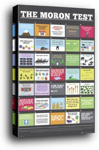 Fun Poster als Blockbild - Idiotentest In Englisch (91 x 61cm)