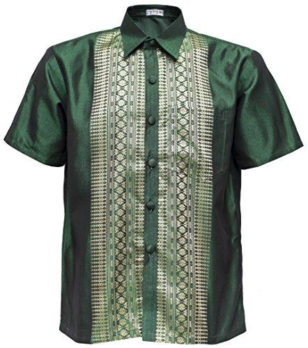 Manica corta da uomo Thai Silk Camicia classica del collare diritto bandierina casuale Verde
