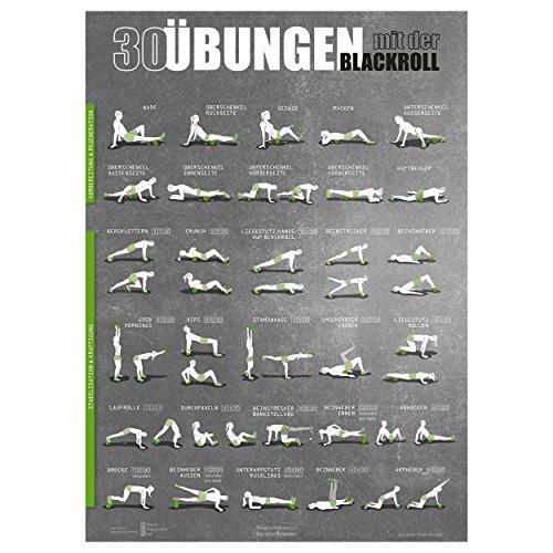 Blackroll Übungsposter - großes DIN A1 Poster mit 30 Übungen für das Faszientraining