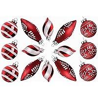 Valery Madelyn 14pcs Ornements de Boule de Verre de Noël, 6/7 / 10cm Décoration d'arbre de Noël Rouge Blanc à Thème avec Frais Hiver Congelé Traditionnel Noël