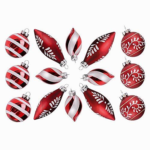 79c81640437 Valery Madelyn 14 Piezas Bolas de Navidad de Cristal Rojas y Blancas